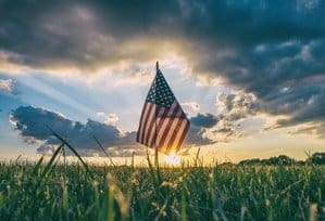 Image of a USA flag in fields