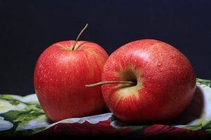 image of two red apples