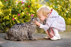 portrait of a little girl with a cat in the garden